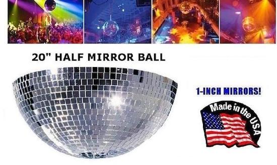 Venue Supply Brand 20 Inch Half Mirrored Disco Ball With 1