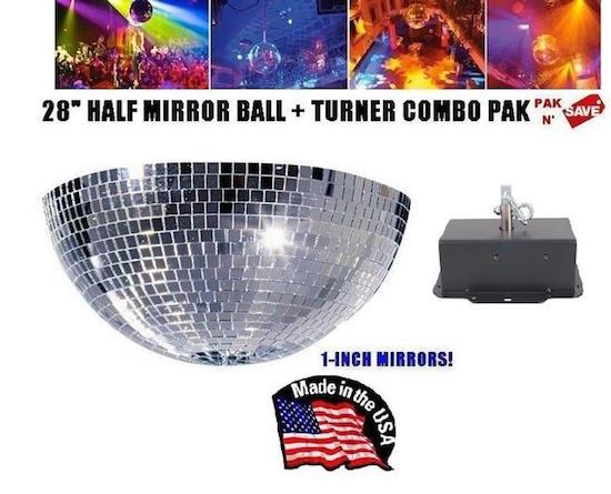 Venue supply brand 28 inch half mirrored disco ball combo pak with venue supply brand 28 inch half mirrored disco ball combo pak with mirror ball turner aloadofball Images