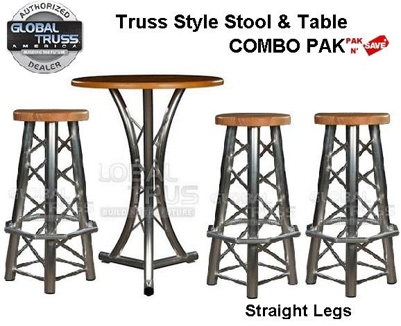 Great Global Truss America TRUSS STYLE STOOL U0026 TABLE COMBO PAK   With Durable U0026  Stylish Straight Crossweaved Leg Stools ***